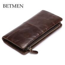 BETMEN Luxury Vintage Genuine Leather Wallet Long Men Wallets Casual Purse Brand