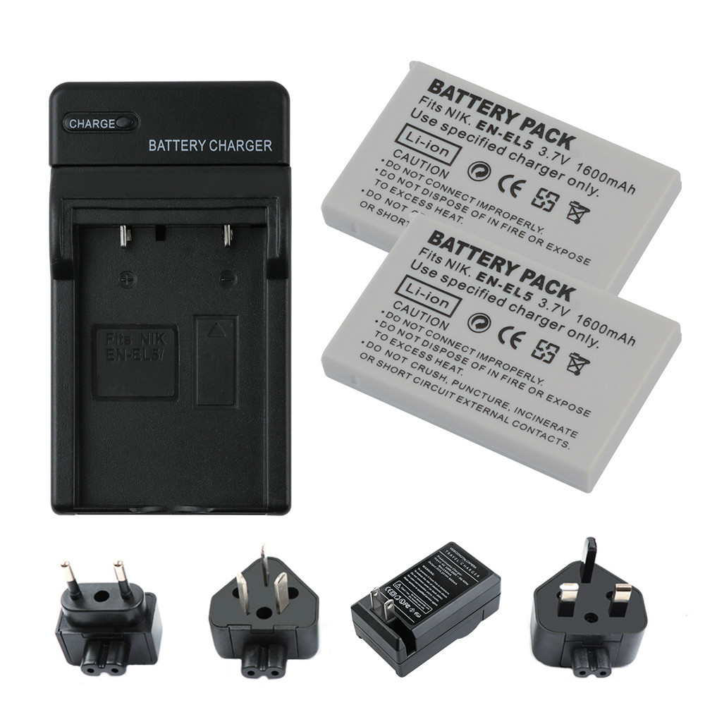 2 pièces 3.7 V 1600 mAh EN-EL5 EN EL5 ENEL5 Batterie + Chargeur pour NIKON Coolpix P530 P520 P510 P100 P500 P5100 P5000 P6000