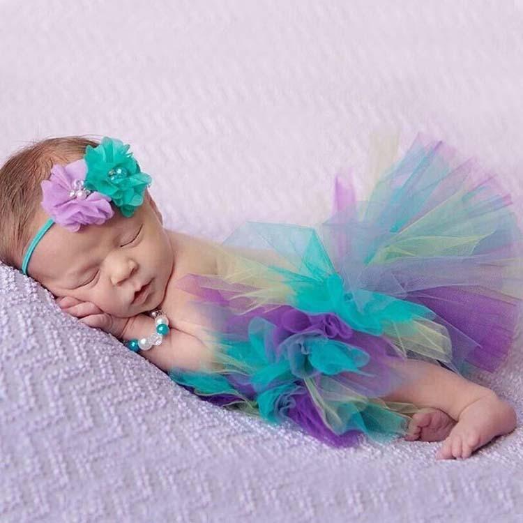 בנות חמודות טוטו חצאיות תינוקות בעבודת יד בלט Tutus ריקודים pettiskirts עם פרח ראש ילדים חצאיות המפלגה יום הולדת