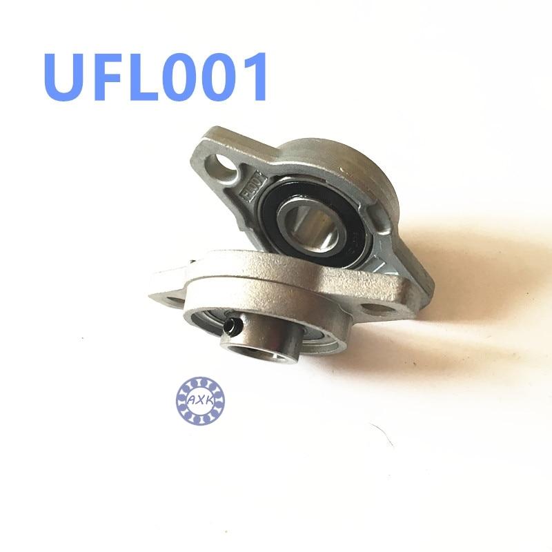 Free shipping 2pcs UFL001 pillow block ball bearing 12mm Zinc Alloy Miniature Bearings with sleeve