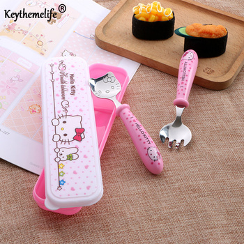 Keythemelife Hello Kitty Tableware Lunch Set Kids Cutlery Cartoon Dinnerware Set Camping Picnic Set Gift For Child BF