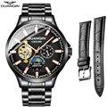 GUANQIN relojes de negocios de marca superior de lujo automático a prueba de agua Mecánico Tourbillon Esqueleto de acero inoxidable Conjunto de reloj masculino
