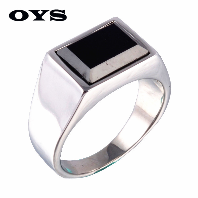 High Quality Titanium Steel Finger Rings Simple Square Black Agate Wedding Engagement Rings Free Shipping