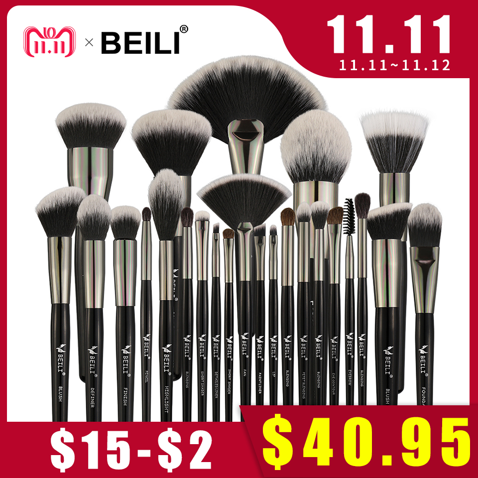 BEILI Black 25PCS Face Makeup Brushes Set Professional Natural bristles Synthetic Hair Blending Eyebrow Concealer Foundation beili single 104 flat kabuki single synthetic hair face для умывальника румяна черная макияжная кисть