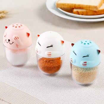 Słodki kociak kształt słoik na przyprawy zdrowie bezpieczne plastik ABS temperos sól pieprzniczka do grillowania kuchnia narzędzia kuchenne stojak na wykałaczki