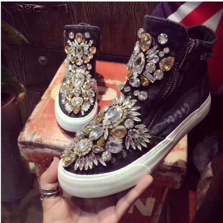De Europea Negro Estación Cremallera Tailandia Con Hong Marea Lona La Denim Zapatos Cristal Preciosas Marca Agujero Piedras Alta Kong TBtwfBqp