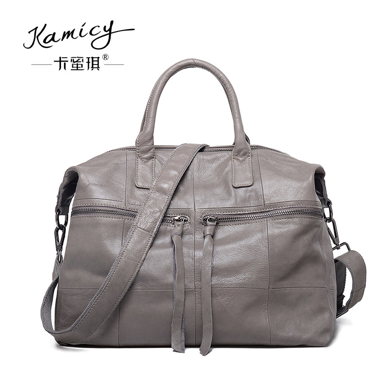 Women's handbag 2018 leather big  one-shoulder  bag fashionable  tassel and  the new popular tote bag is spliced  cross-body bag handbag 2017 new hot bag popular style leather bag of popular fashionable leather bag with large capacity