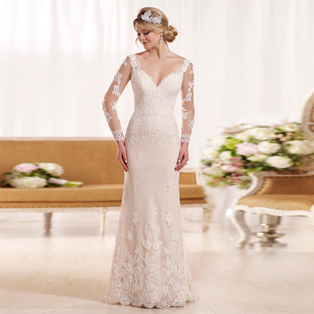 Long Sleeves Wedding Gown V-neck Mermaid Floor-length Wedding Dresses for Marriage  2015 5dcdb67bc4fc