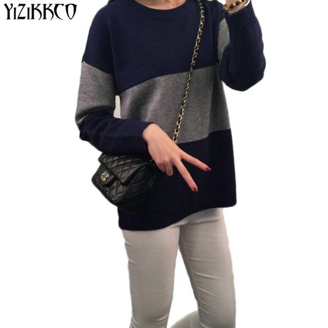 Mulheres Pullover Sweater 2017 Nova Moda Outono Inverno Quente Casual Malha Bordado de Alta Qualidade puxar femme Blusas Soltas XSS3