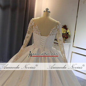 Image 4 - robe de soiree 2020 long sleeves satin wedding dress with lace sleeves real work