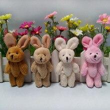 10 шт./лот, 10 см, плюшевый кролик, кукла, длинный Ушастый мультяшный букет, материал, смешанный кролик, свадебный подарок