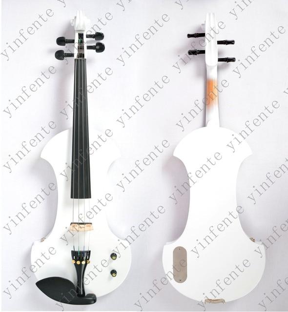 3e098b2dc واحد 4/4 الكهربائية الكمان شكل جديد كثير الألوان الصلبة الخشب الأسود الأصفر  الأبيض الأزرق