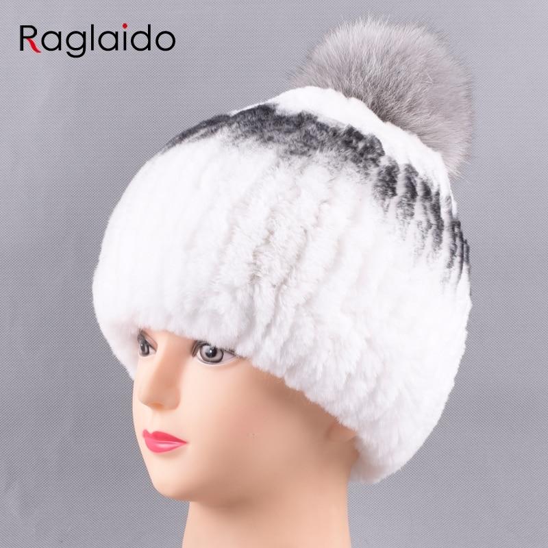 3f25afc9f13 Raglaido Pom Pom Beanies Rex Rabbit Fur Hat Russian women snow caps Genunie  natural fur Knit hat with grey ball LQ11228