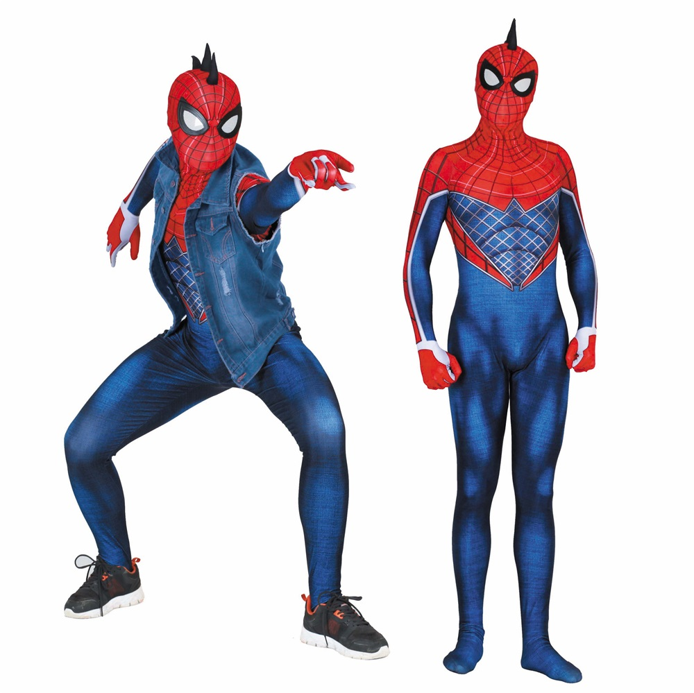 Adult Kids SPIDER PUNK Hobie Brown Cosplay Costume Zentai Spiderman Superhero Bodysuit Suit Jumpsuits-in Movie & TV costumes from Novelty & Special Use    1