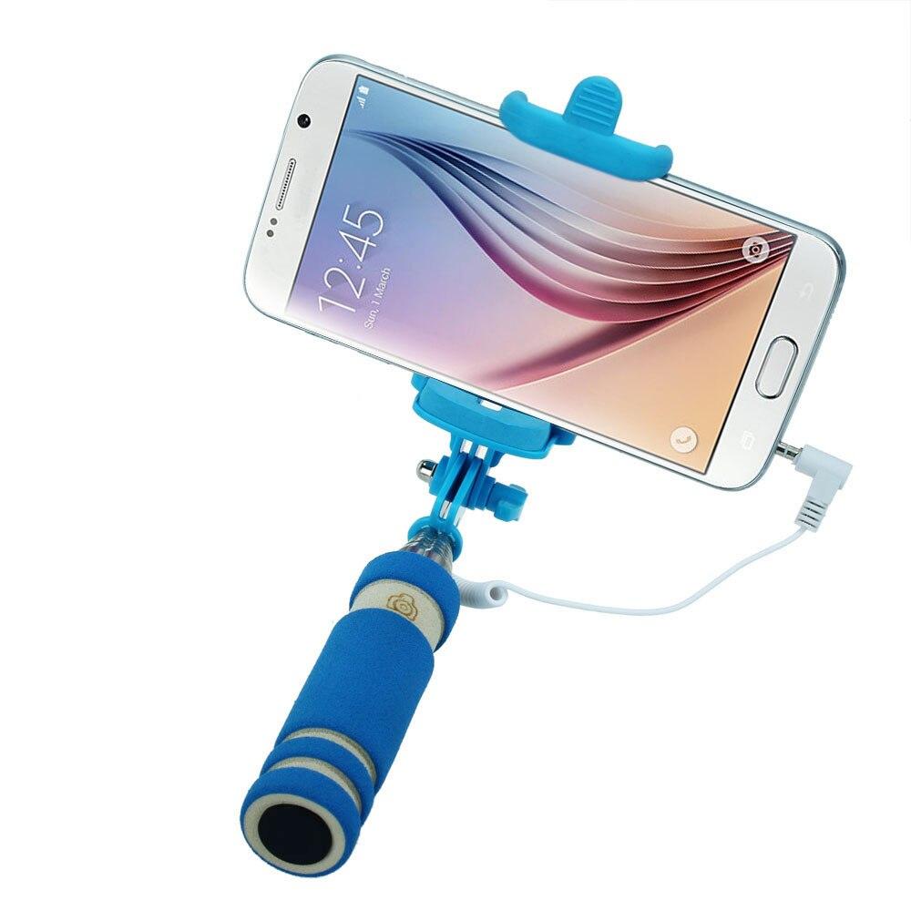 Malloom 2017 Mini Wired Selfie Stick Handheld Monopod Camera Selfi stik Extendable Tripod Selfie vara auto Monopad Blue
