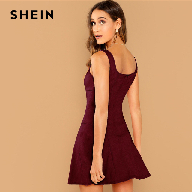 SHEIN Black Fit And Flare Solid Dress Elegant Straps Sleeveless Plain A Line Dresses Women Summer Autumn Zipper Short Dress 4