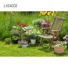 Laeacco Garden Grassland Flowers Chair Scenic Photography Backgrounds Customized Photographic Backdrops For Photo Studio