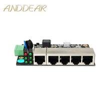 Conmutador ethernet Industrial de 5 puertos, conmutador Ethernet no gestionado de grado industrial con 5 puertos Ethernet adaptables de 10/100 M