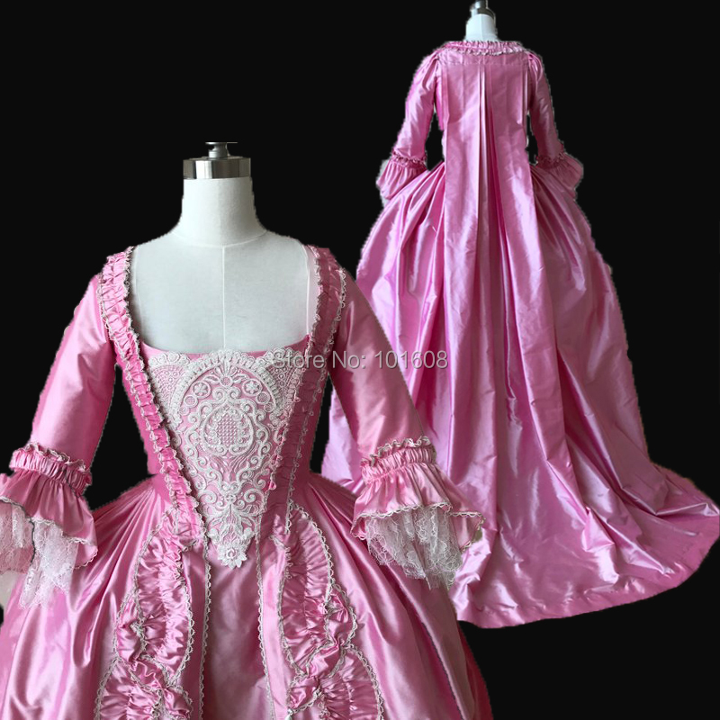Customized!Royal Eras Pink 2-pcs Renaissance Civil war Theatre 18th Court Belle Marie Antoinette DRESS Victorian dresses HL-320(China)