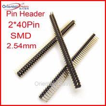 20 pcs 2*40 pinos de Duas Carreiras 2.54mm Espaçamento 2*40 P Pin Header Flexível flat Pin Curvo Agulha Masculino Pin Conector em linha reta
