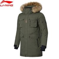 Li Ning Men Outdoor Series Mid Down Coat ATProof Smart Fur Hooded LiNing Winter Sports Thick Warm Parkas Jackets AYMN043 MWY320