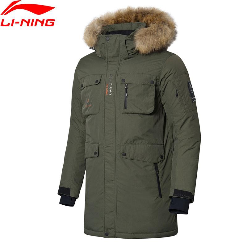 Li-Ning Série Meados Dos Homens Ao Ar Livre Para Baixo Casaco ATProof Inteligente Forro de Pele Com Capuz Jaquetas de Esportes de Inverno de Espessura Parkas Quentes AYMN043 MWY320