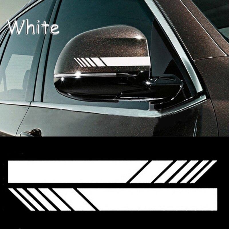 2 шт. наклейка на зеркало заднего вида s для автомобиля, Стайлинг для домашних животных, автомобильная наклейка на зеркало заднего вида, боковая наклейка в полоску, автомобильные аксессуары - Название цвета: 2