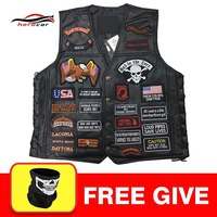 New Genuine Leather Motorcycle Vest Men Punk Retro Classic Style 42 Patches Motorcycle Jacket Biker Club Casual Vest Clothing