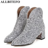 ALLBITEFO Thick Heel Sequin Cloth Women Boots Brand Medium Heel Martin Boots Woman Ankle Boots Girls