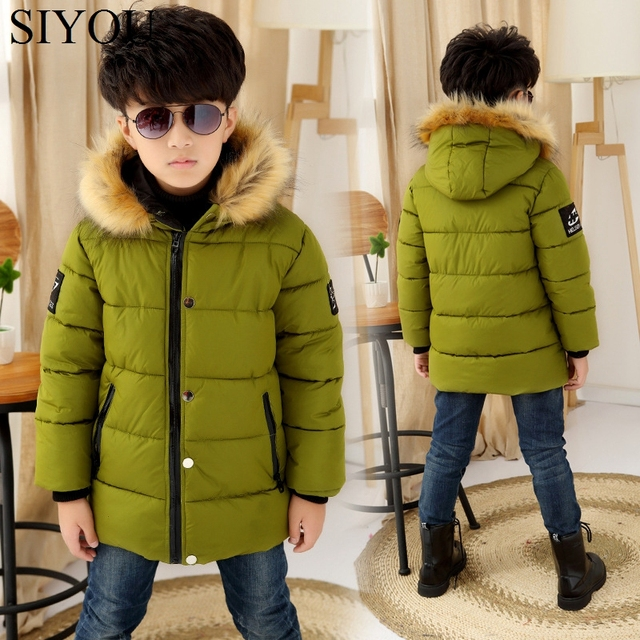 Ultra Light Children Winter Boys Down Jacket coat Hooded Overcoat Fur Collar Cotton Coats Snowsuit Teenages Outerwear SYHB120902