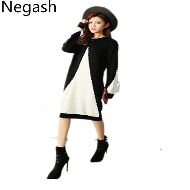 Xl Plus Size Sweater Dress Women Fashion Cotton Dresses Autumn Argyle Knitting O Neck Loose