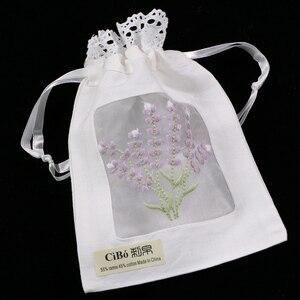 B011 : 12 шт., подарочные сумки с белой рами/хлопковой вышивкой лаванды, сумки для хранения с кружевными краями, сумки-пакетики размером 5x7 дюймо...