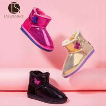 T S children boots Genuine Leather kids Golden Girls Butterfly button snow Boots kids winter