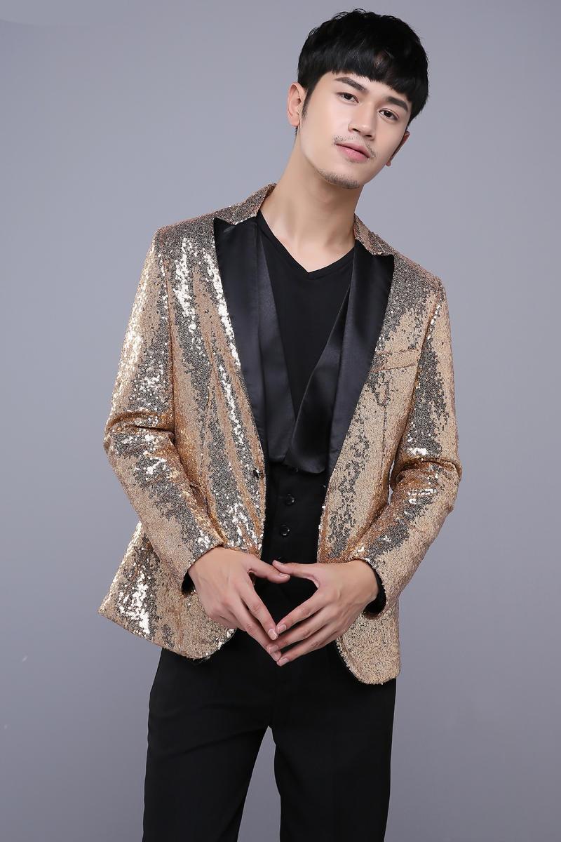 Kostumet e xhaketave për meshkuj të artë Këngëtarja Dancer - Veshje për meshkuj - Foto 3