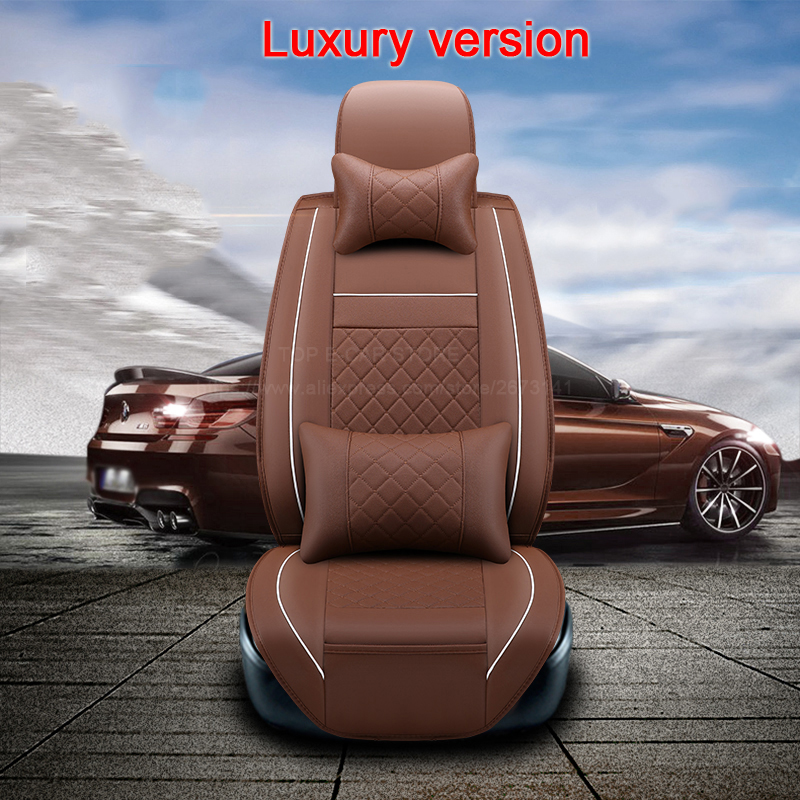 (Front +Rear) High quality leather universal car seat cushion seat Covers for Dacia Duster Sandero Loganauto seat protector