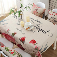 Europe Colorful Floral Printed Tablecloth Polyester Cotton Thick Table Fridge TV Covers Wedding Table Clothes Home