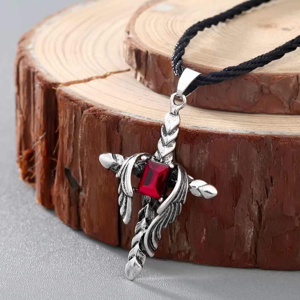 CHENGXUN Estilo Punk Gótico Red Cubic Zirconia Inlay Magia Espada Dragão Colar de Pingente de Cruz para Os Homens Viking Amuleto Jóias