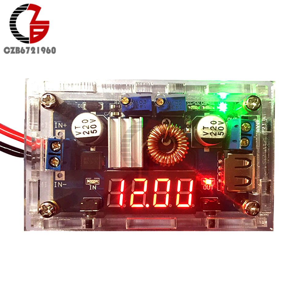 5A Konstante Strom Spannung Power Lade Modul CC CV Step Down Buck Converter Transformator LED Digital Voltmeter USB mit Fall