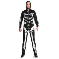 Mens Skeleton Halloween Fun Costume Sleeve Skull Jumpsuit Cosplay Fancy Dress
