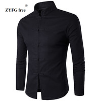 Men Shirt Cotton Chinese Tradition Style 2017 New Arrival Male Solid Color Mandarin Collar Business Long
