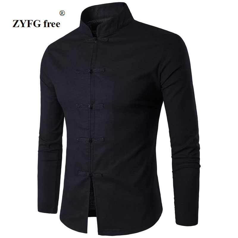 Men s Shirt Chinese Tradition Style 2017 New Arrival Male Solid Color Mandarin Collar Business Long