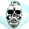 Fashion Silver Fashion Hairstyle Beard Skull Hooded Rings For Men 316L Stainless Steel Rock Punk Style Jewelry Party Gifts LR408