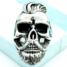 NIENDO Fashion Hairstyle Beard Skull Hooded Rings For Men 316L Stainless Steel Rock Punk Style Jewelry Party Gifts LR408