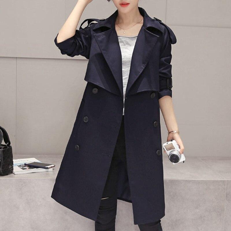 7afd670213eaa4 Solide Longueur Automne Blue Black Coupe Printemps Couleur breasted De  Femmes Mode vent Moyen A271 Double Revers ...