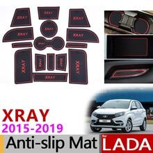 Per LADA XRAY Anti-Slip Coppa di Gomma Porta Cuscino Groove Zerbino 15 Pcs 2015 2016 2017 2018 Accessori Per Interni sticker Car Styling