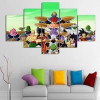 Emolduradas 5 Painéis de Dragon Ball Super Saiya Cópia Da Lona Decoração de Casa Sala Quarto Parede Pictures pintura Da Arte Como O Presente