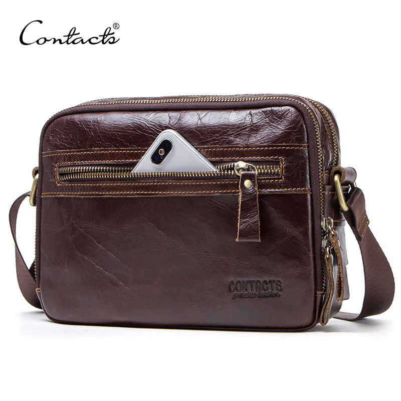 CONTACT'S Genuine Leather Men Messenger Bag For Ipad Male Shoulder Bags For Credit Card Luxury Brand Man's Bags With Coin Pocket