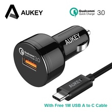 AUKEY Car Charger Quick Charge 3.0 24W USB Car-Charger Mini Fast Car Phone Charger for Xiaomi Galaxy S8 HTC & More Mobile Phone