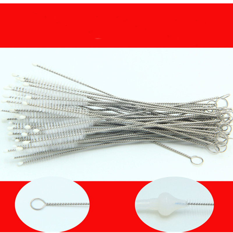 1Pcs Premium Stainless Steel Nylon Straw Cleaning Brush Drinking Pipe Tube Cleaner Baby Bottle Clean Tools High Quality