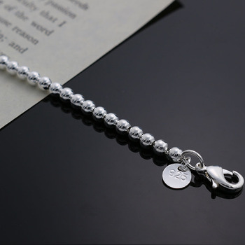 Beautiful fashion Elegant Gold color silver color 4MM beads chain women lady cute Bracelet high quality Gorgeous jewelry H198 2